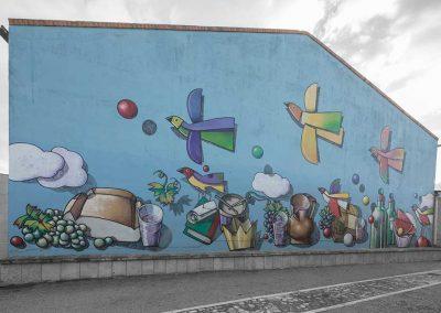 Mural principal frente a la bodega Aula de Interpretación