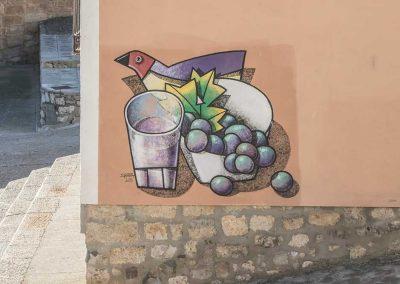 Mural vino y uvas