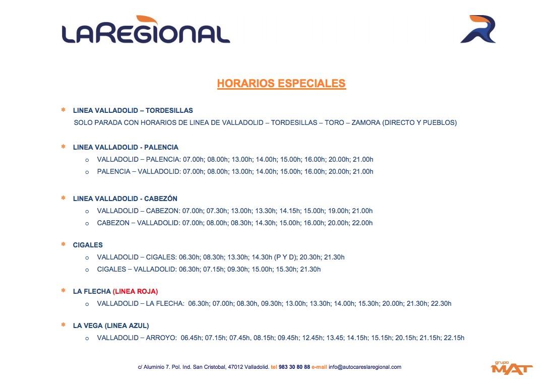 Horarios especiales del autobús de La Regional 1
