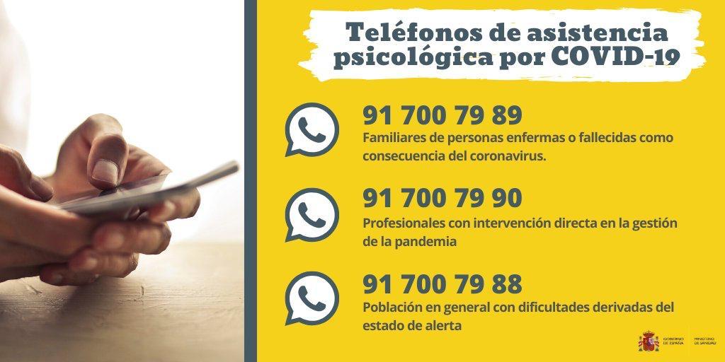 teléfonos de asistencia psicológica por COVID-19 1
